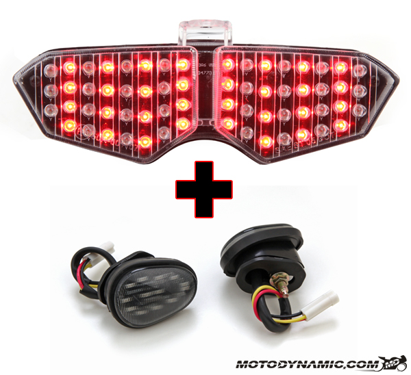03 05 Yamaha R6 Sequential Clear Led Tail Light Flush