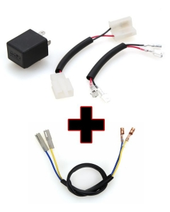 Motodynamic Electronic LED Flasher Relay + Resistor Bypass Harness Combo for Honda