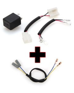 Motodynamic Electronic LED Flasher Relay + Resistor Bypass Harness Combo for Kawasaki