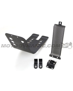 Skid Plate + Oil Cooler Guard Aluminum for Triumph Bonneville Thruxton Scrambler in Black
